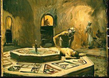 """Massage in a bath house""-Sargent John Singer-1856-1925"